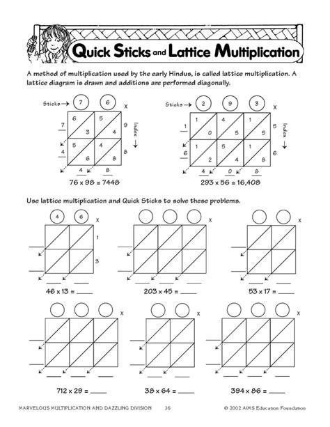 pin lattice multiplication worksheets 3rd grade on