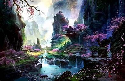 Cherry Lava Tree Blossoms Waterfalls Daniel Artwork