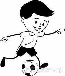 Sports Clipart- black-white-boy-runnig-with-soccer-ball ...
