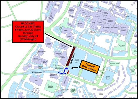 Directions To Cobb Parking Deck Unc by West Drive Blocked Fri Sun July 22 24 Complete