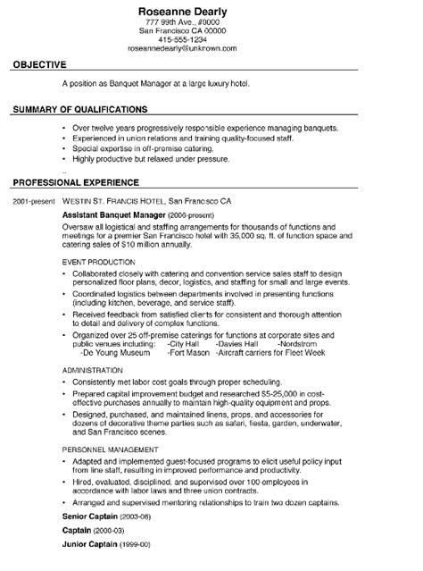 resume sle banquet manager