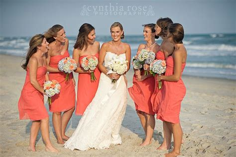 Coral Bridesmaids Dresses, Hydrangea Bouquets By Roger