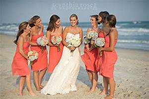 coral bridesmaids dresses hydrangea bouquets by roger With coral dress for beach wedding
