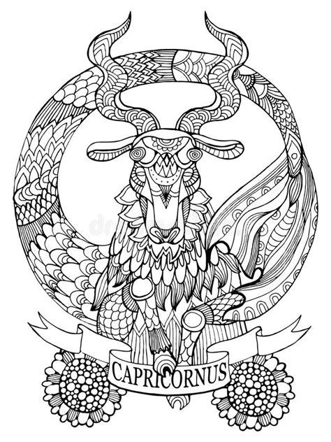 Capricorn Zodiac Sign Coloring Book Vector Stock Vector