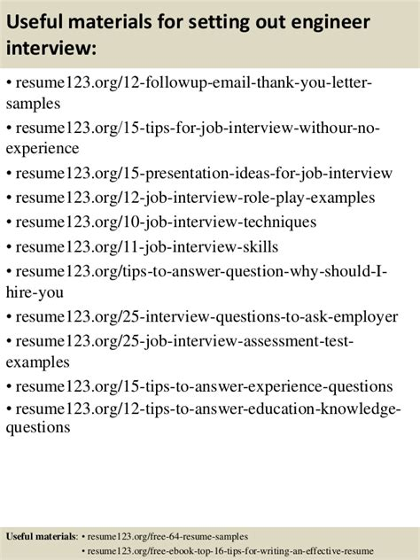 best resume set out top 8 setting out engineer resume sles