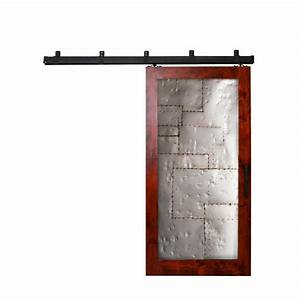 rustica hardware 36 in x 84 in steampunk barn red metal With box rail sliding hardware kit