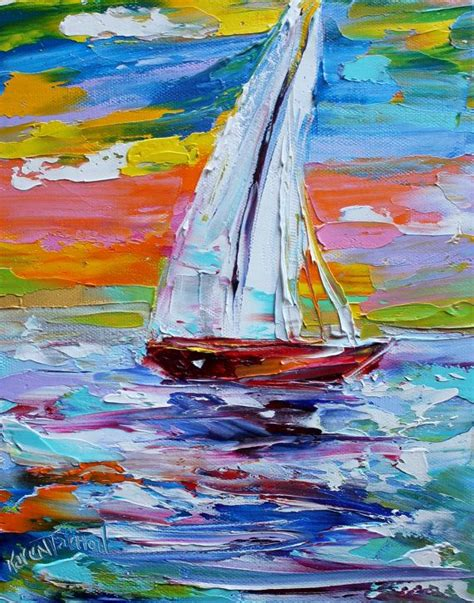 Sailboat Oil Painting by Original Oil Painting Sailing Sunrise Abstract By