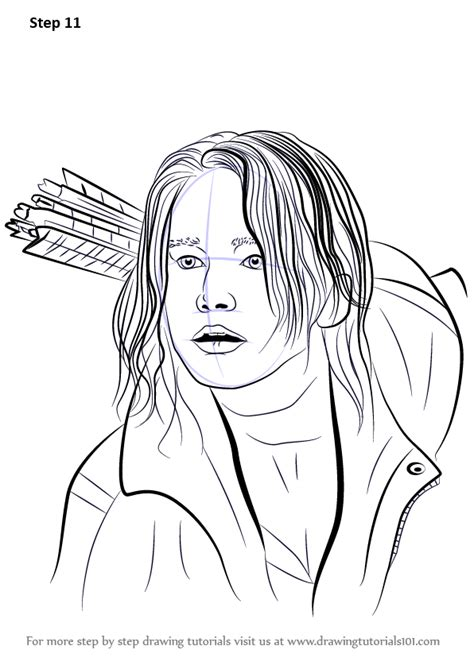 learn   draw katniss everdeen characters step  step drawing tutorials