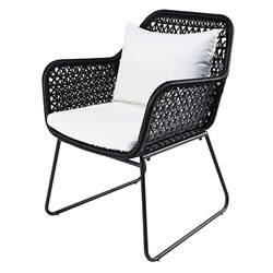 fauteuil de jardin en r 233 sine tress 233 e et coussins blancs cuzco maisons du monde