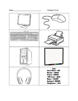 color the computer parts worksheet by a s paradise