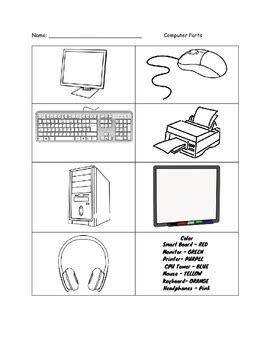 color the computer parts worksheet worksheets computer