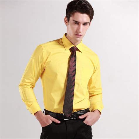 Top quality Solid Cotton mens dress shirts Yellow Mens Shirt Diamond Button Down Slim Fit mens ...