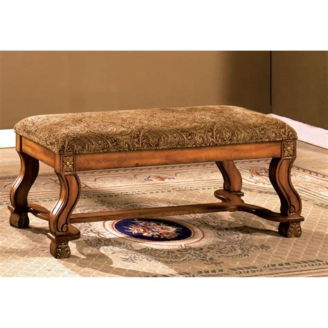Traditional Benches furniture of america alain traditional style upholstered