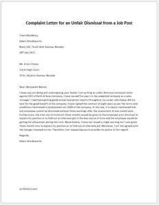 Complaint Letter for an Unfair Dismissal from a Job Post