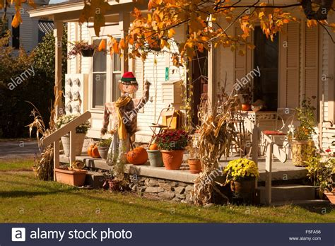 Halloween Decorations On A House Porch, Stowe, Vermont Vt