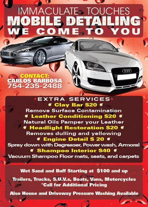 Boat Detailing Flyers by Immaculate Mobile Car Wash Promotional Flyer Design