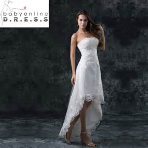 brautkleid discount vestidos de noiva curto strapless high low lace white front back wedding dresses