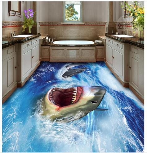 3d bathroom wallpaper waterproof Shark 3D floor pvc self