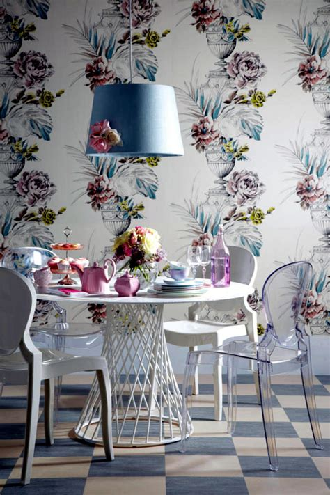 black and white plastic tablecloth pastel floral wallpaper dining room paper interior
