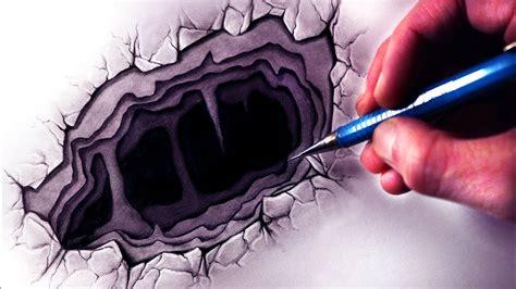 drawing   hole illusion art youtube