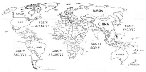 world map black and white world map in black and white stock vector 477707738