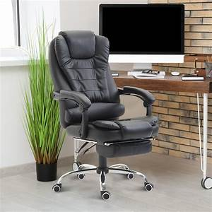 Homcom, Reclining, Executive, Office, Chair, W, Footrest, Pu, Leather