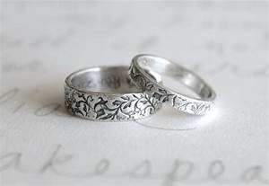rustic vine wedding band set engraved leaf wedding band ring With vine wedding ring