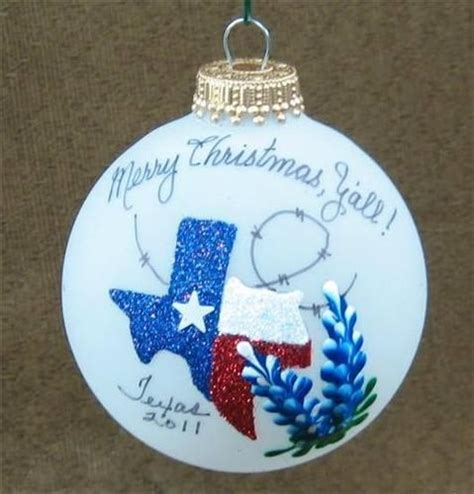 hand painted and decorated state of texas w bluebonnets glass christmas ornament treasure