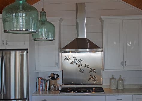 Stainless Steel Backsplash With Sea Turtles   R Mended
