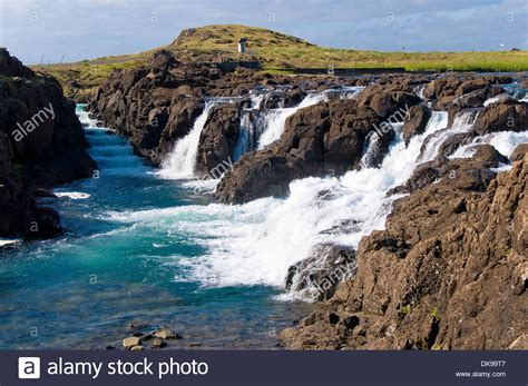 waterfall borgarnes iceland stock photo royalty