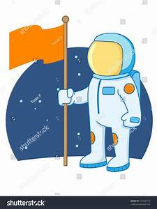 Astronaut Holding Flag Outer Space Vector Stock Vector ...
