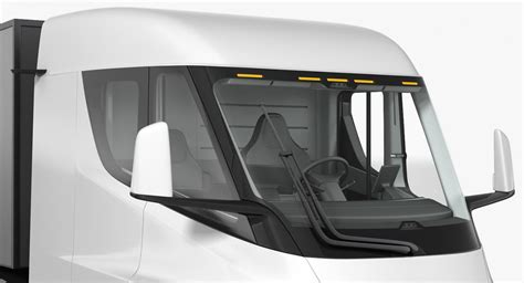 electric semi truck tesla  trailer simple interior