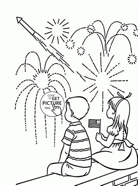 kids  fireworks independence day coloring page