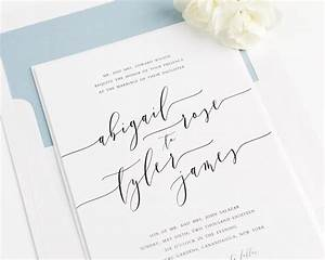 wedding invitation romantic calligraphy invitation With wedding invitation type of paper