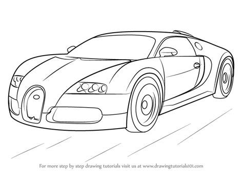 learn how to draw bugatti veyron sports cars step by
