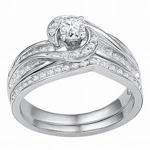 10k white gold womens round diamond swirl bridal wedding With swirl diamond wedding ring set
