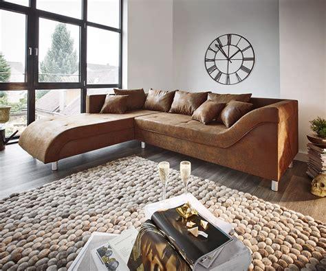Couch Cadiz Braun 261x204 Antik Optik Gerundete Form Mit