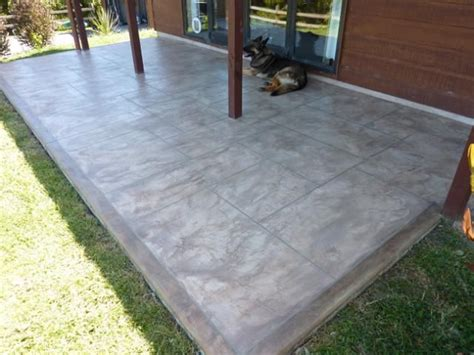 resurfaced concrete patio with border home sweet home