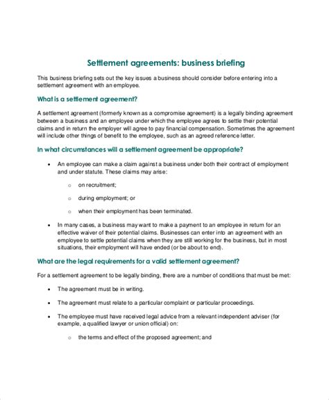 settlement agreement template confidentiality settlement agreement 10 free word pdf documents free premium