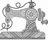 Sewing Machine Coloring Naaimachine Drawing Mandala Flowers Zentangle Adults Decorative Szycia Ornaments Dessin Coloriage Coser Uitstekende Shutterstock Colorare Machines Maszyna sketch template