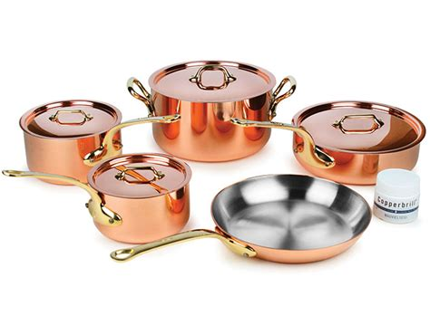 mauviel copper cookware set mm  piece mb bronze handles cutlery