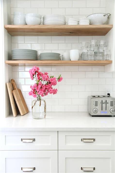 home depot white subway tile backsplash stacked kitchen shelves transitional kitchen