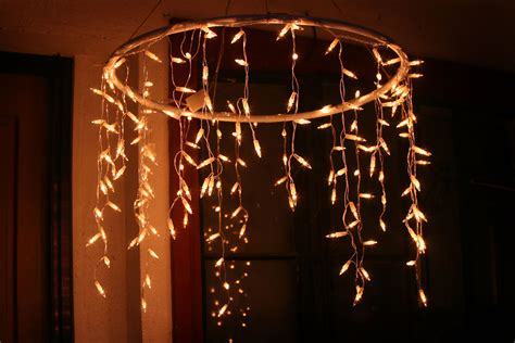 how to make an outdoor chandelier with icicle christmas lights