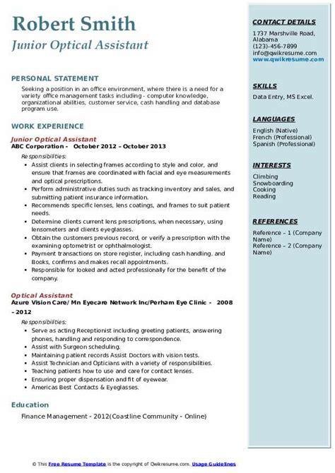 optical assistant resume samples qwikresume