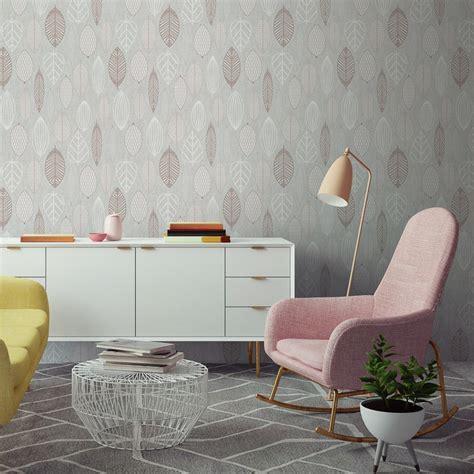 Scandi Leaf Wallpaper   Rose Gold   DIY   B&M