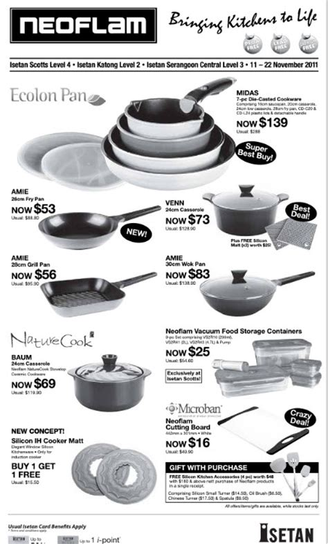 cookware isetan kitchenware pots pan tangs takashimaya fry neoflam promotions