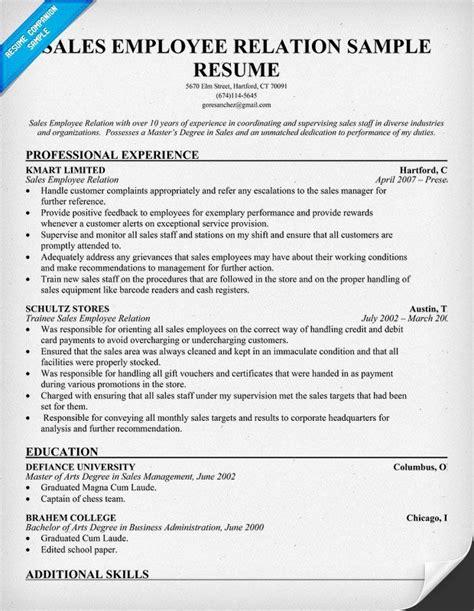 Employee Relations Resume by Sales Employee Relation Resume Resume Sles Across
