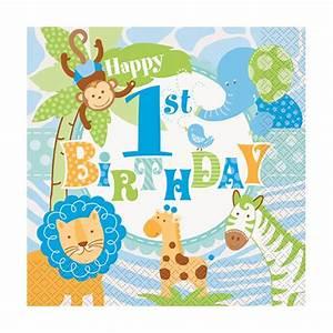 Servietten Safari in Blau 1 Geburtstag