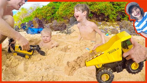 toy dump truck buries axel  river youtube