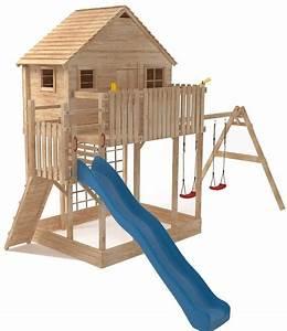 xxl spielturm baumhaus stelzenhaus spielhaus sandkasten With französischer balkon mit schaukel mit rutsche für garten
